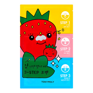 TONYMOLY (New) Runaway Strawberry Seeds 3 Step Nose Pack 1sheet