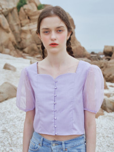 [R] Letter From Moon Summer Princess Line Blouse [Purple] 1pcs