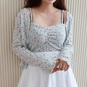 [R] Rowky mini flower cardigan+cami set 1pcs