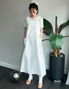 [R] Rowky Cotton Shirring Long Dress 1pcs