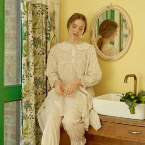 [R] ULLALA PAJAMAS [WOLX21110V] Sophia Long sleeve dress - Cream