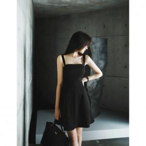 [R] Milkcocoa Amelie dress line.modern black flare dress, Size M