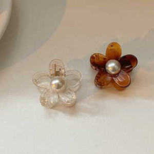 [R] Byladies acrylic Flower Pearl Tongs Pin 2ea