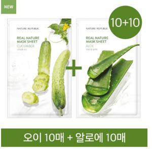 Nature Republic 10+10 Real Nature Mask Sheet Cucumber 10sheets + Aloe 10sheets
