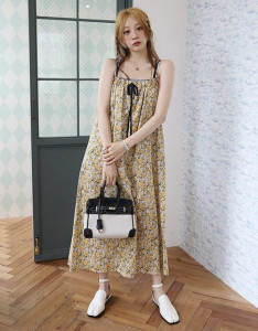 [R] Rowky Flower pocket sleeveless dress 1pcs