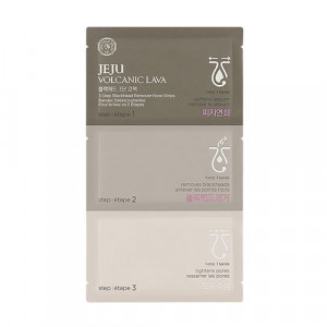 The Face Shop  Jeju Volcanic Lava 3-step Blackhead Remover Nose Strips  1pcs(4ml+1ea+4ml)