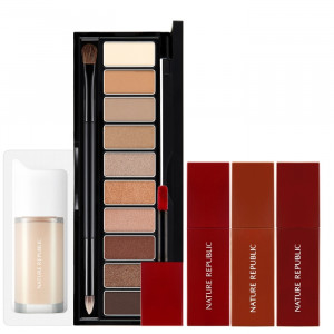 Nature Republic [Thanksgiving Set] Pro Touch Shadow Palette 10 Color / Tint Thrilling Daisy / Foundation Set