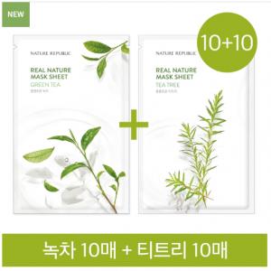 Nature Republic 10+10 Real Nature Mask Sheet Tea Green Tea 10sheets + Tea Tree 10sheets
