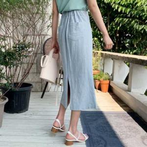 [R] HELLOSWEETY Attend Cotton Slit Skirt 1pcs
