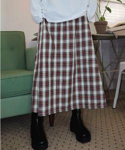 [R] Rowky Tartan Check A-Line Long Skirt 1pcs