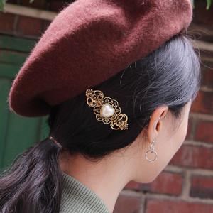 [R] Rowky heart pearl antique pin 1pcs
