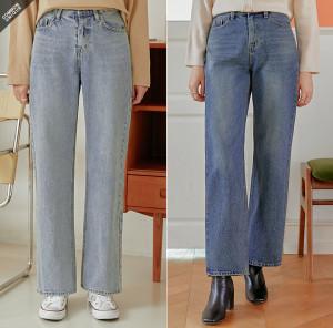 [R] Common Unique washed straight leg jeans 1pcs