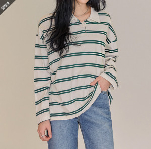 [R] Common Unique collared stripe t-shirt 1pcs
