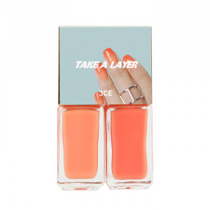 STYLENANDA 3CE Take a Layer Layering Nail Lacquer [#Dazzling Peach] 4ml*2ea
