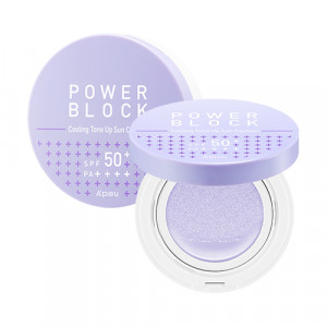 A'PIEU Power Block Cooling Tone Up Sun Cushion [Azulene] SPF50+, PA++++ 14g