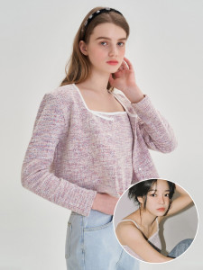 [R] Letter From Moon Spring Tweed Cardigan + Bustier Set Up [Baby Pink] 1pcs