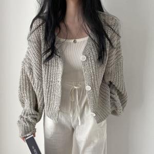[R] Cream Cheese Balloon summer knit cardigan 1pcs