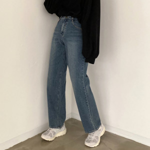 [R] Cream Cheese Winter sky wide jeans 1pcs