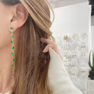 [R] Concept8 Square Green Cubic Long Drop 925 Silver Post Earrings 1ea