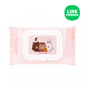 MISSHA (Line Friends Edition) Super Aqua Perfect Cleansing Water In Tissue 225ml/30pcs