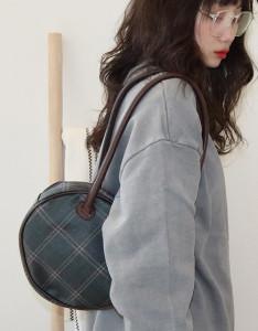 [R] Rowky retro round check shoulder bag 1pcs