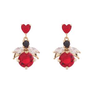Noonoo fingers Ladybug Heart Earring