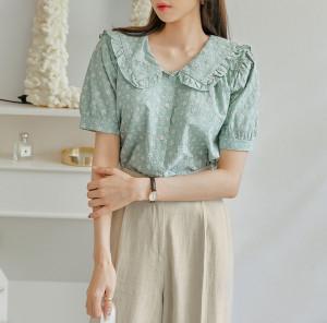 [R] Common Unique fill-trimmed collar floral blouse 1pcs