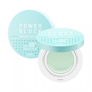 A'PIEU Power Block Cooling Tone Up Sun Cushion [Centella Asiatica] SPF50+, PA++++ 14g