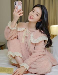 [R] Attrangs op10241 Lovely Ribbon Lace Pajama Two Piece Set 1pcs