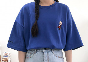 [R] Hot10 Embroidery Charley T-Shirt 1pcs